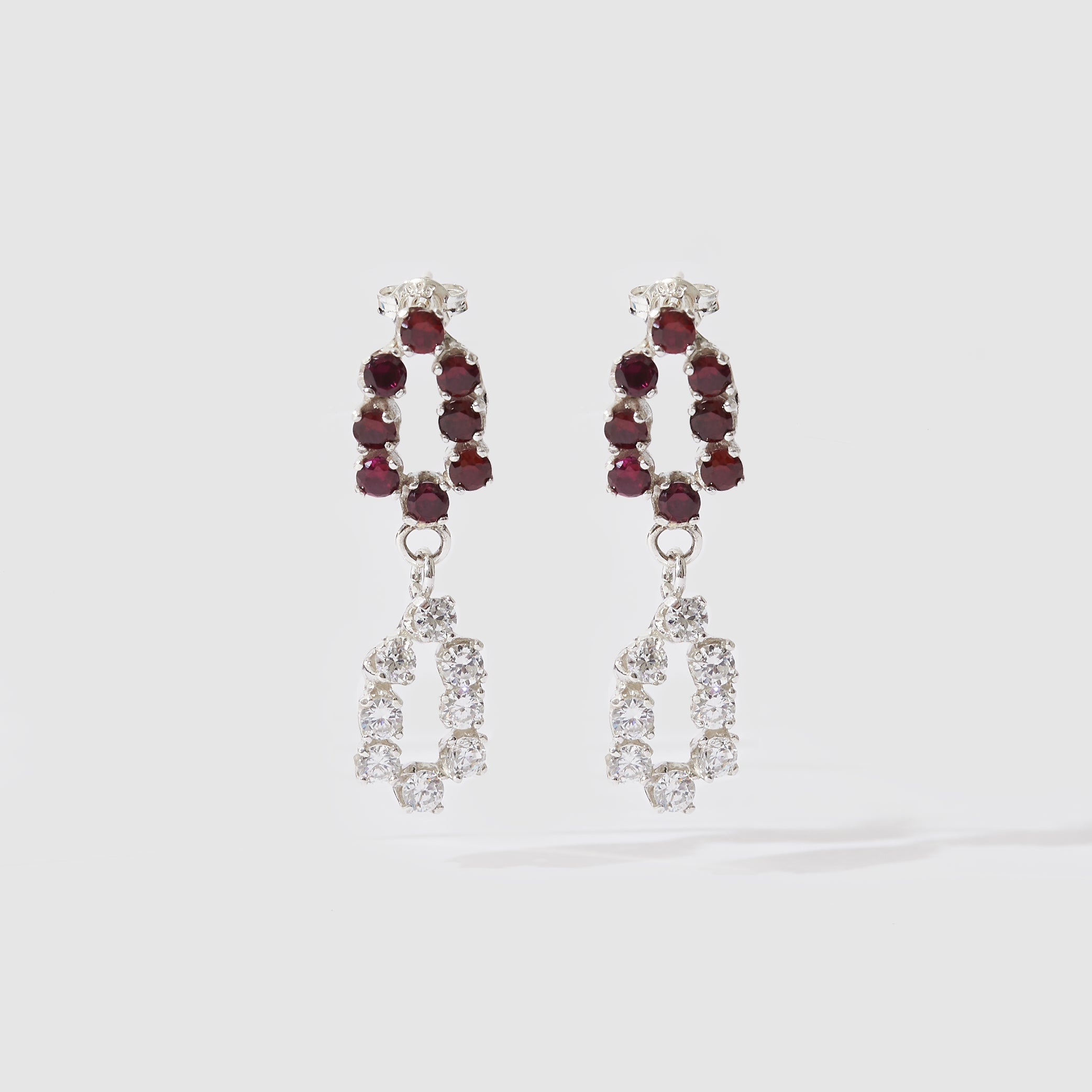 Double Evening Earrings - Red