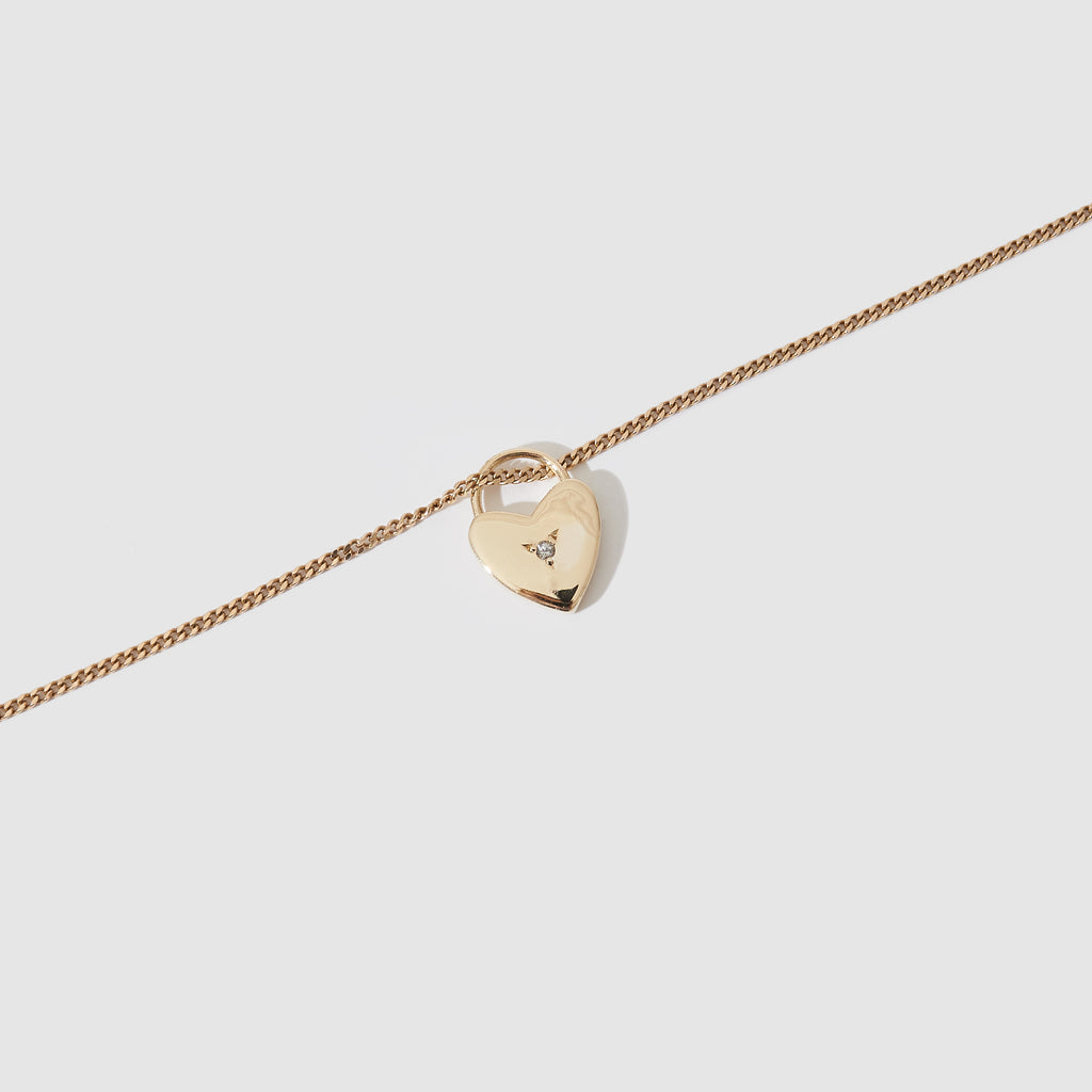 Heart Pendant  - Gold and White Sapphire