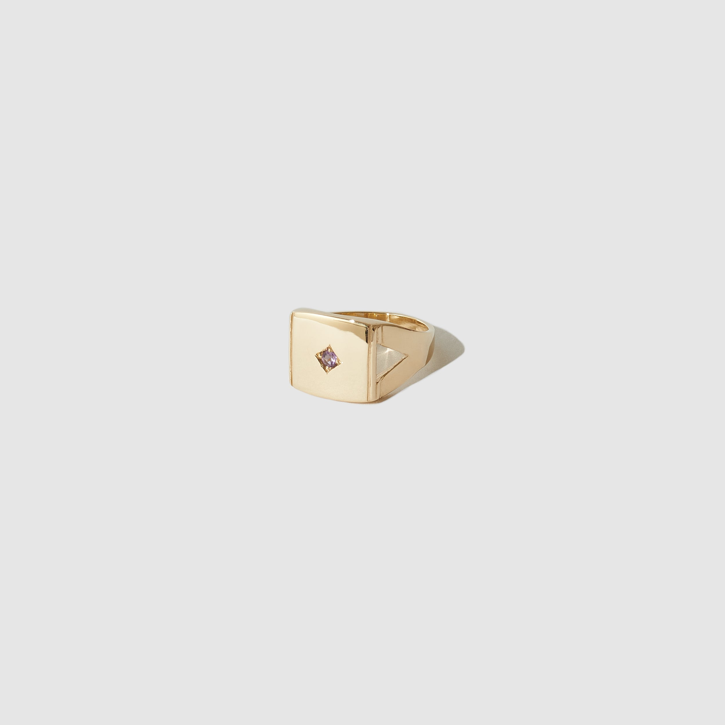 Ornament Signet Ring ~ 9ct yellow gold with light Amethyst
