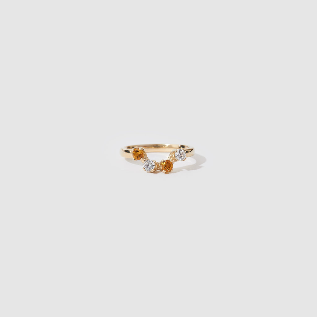 Four Stone Gold Ring - Citrine and White CZ