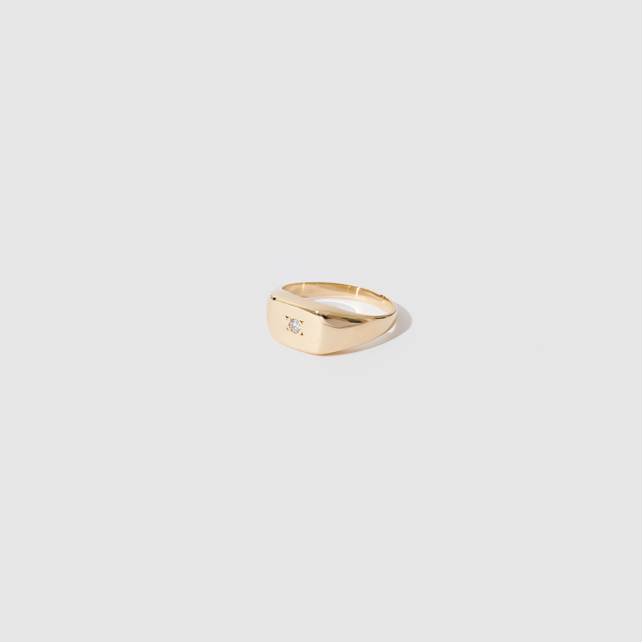 Gold Diamond Rectangle Signet Ring