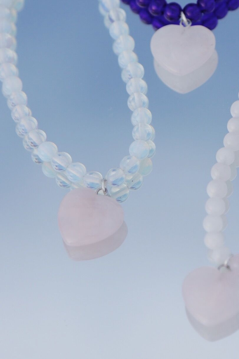 Holiday Beaded Necklace - Rose Quartz
