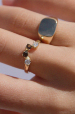 Four Stone Gold Ring - Smokey Quartz and White CZ