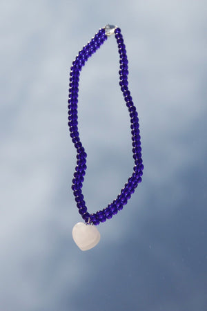 Holiday Beaded Necklace - Cobalt
