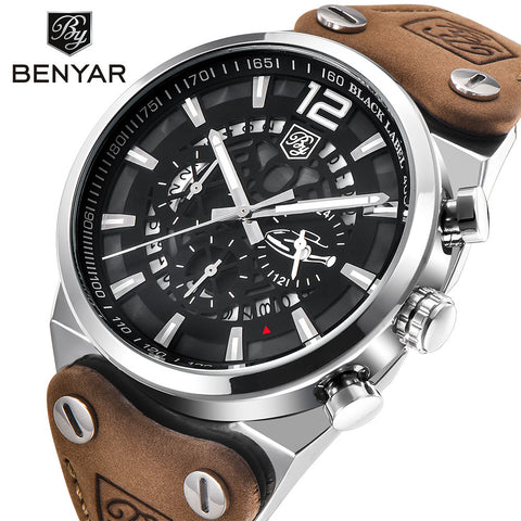 BENYAR BY-5112M Large dial design Chronograph Sport Mens Watches