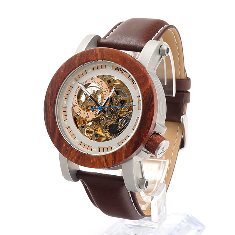BOBO BIRD WK12 Red Sandalwood&Steel Mechanical Watch Vintage Bronze Clock Male Antique Steampunk