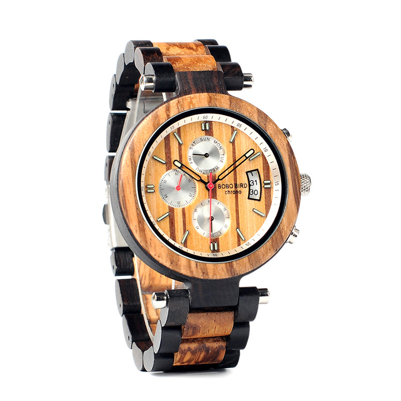 BOBO BIRD WP17 Wooden Multi-function Quartz Male Clock