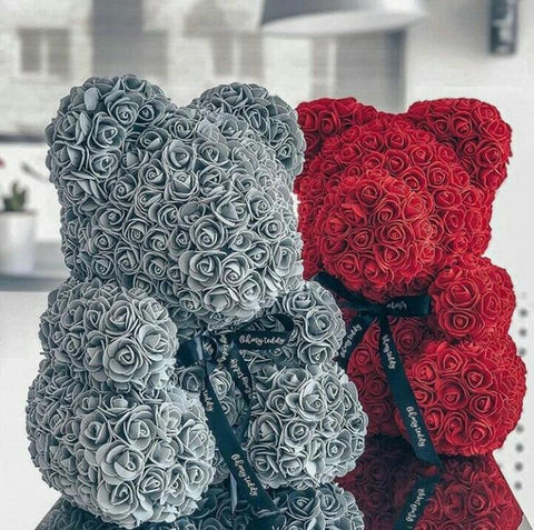 2018 Valentine's Ribbon Rose Teddy Bear 40cm x 28cm