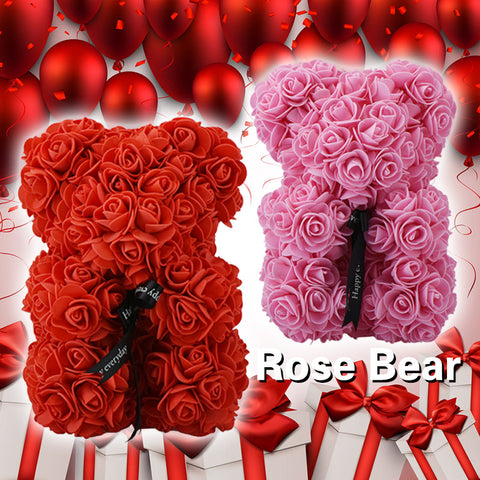 2019 Valentine's Ribbon Rose Teddy Bear 23cm x 15cm