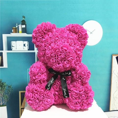Image of 2019 Valentine's Ribbon Rose Teddy Bear 23cm x 15cm