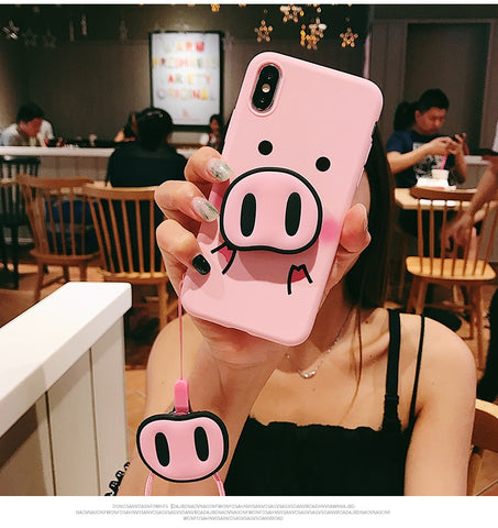 Image of TPU Pig Nose  iPhone  Case  Strap