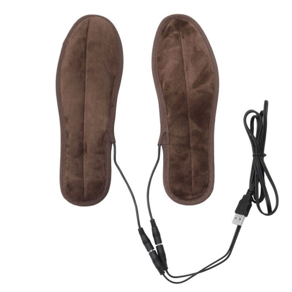 Warm USB Electric Powered Shoes Pads Heating Insole Plush Insoles Thermal Fur