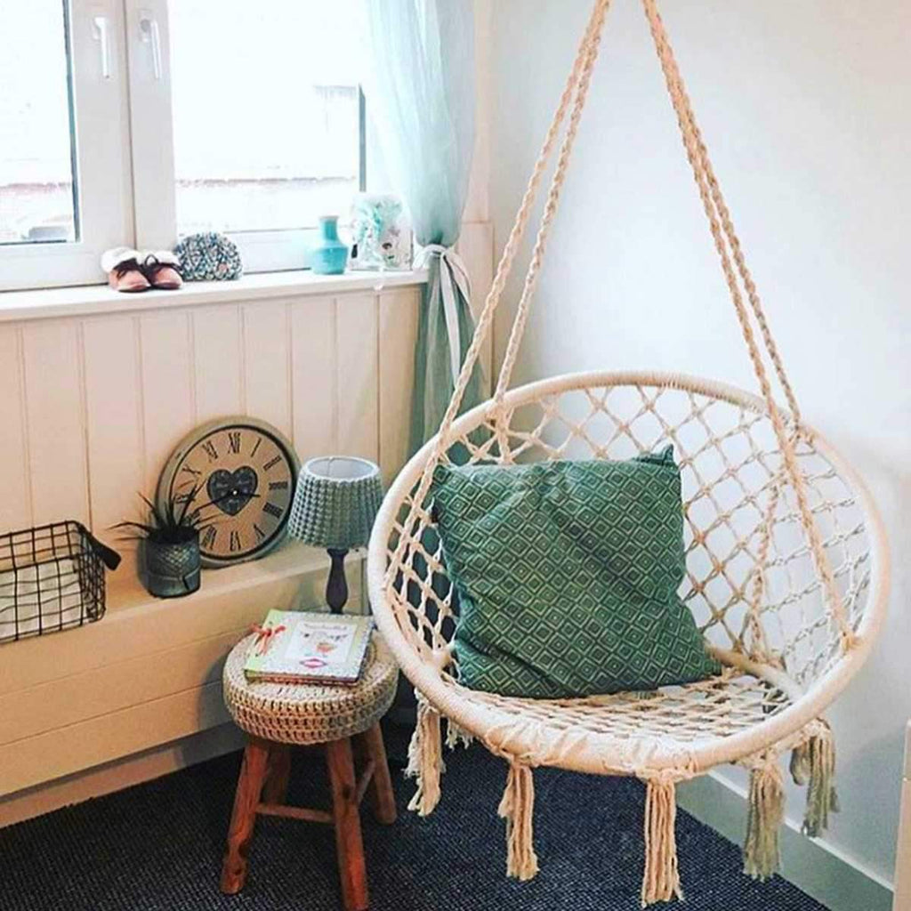 Nordic Style Knitted Round Hammock Chair Swing