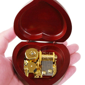 Engrave Handmade Wooden Heart Music Box