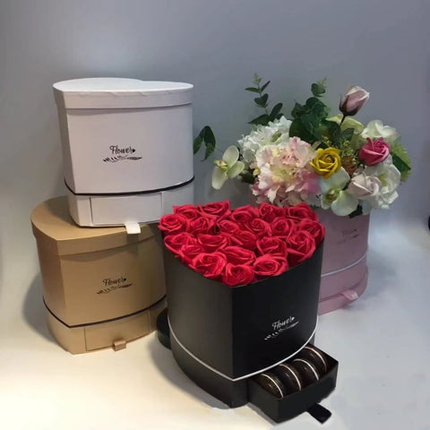 Heart-Shaped Roses Gift Drawer Box
