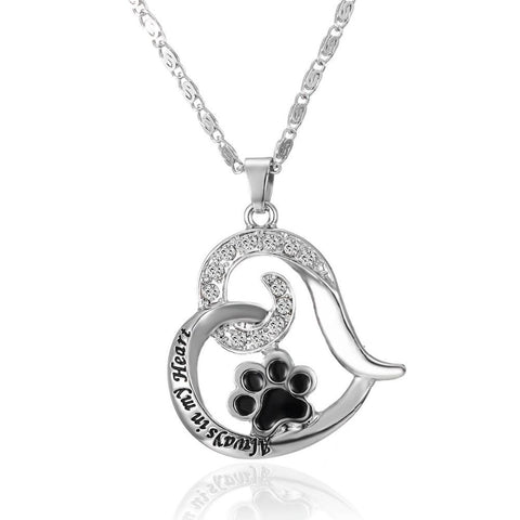 """Always In My Hearts"" Paw Necklace"