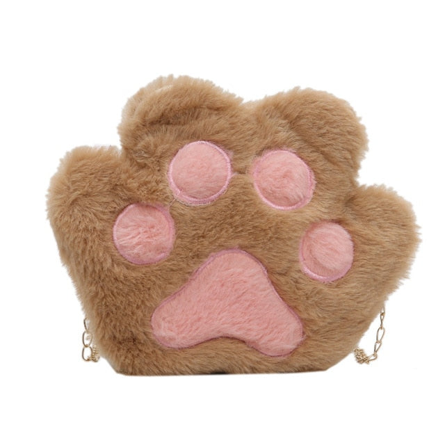 Women's Plush Cat Paw Chain Shoulder Bag