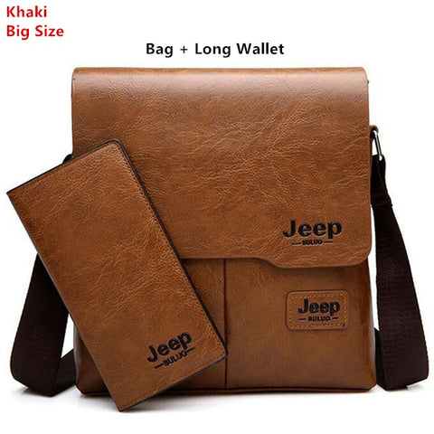 JEEP BULUO Leather Male Cross Body  Messenger Bag