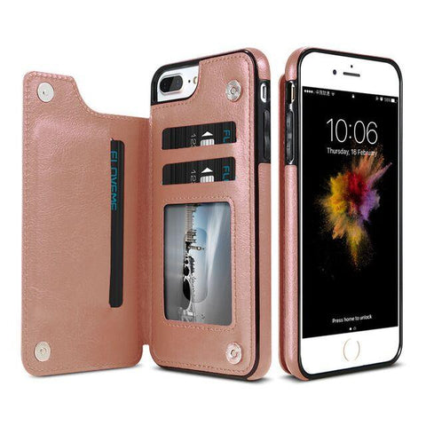 Flip Multi Card Leather Case For iPhones