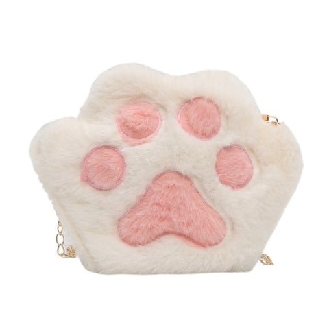 Image of Women's Plush Cat Paw Chain Shoulder Bag