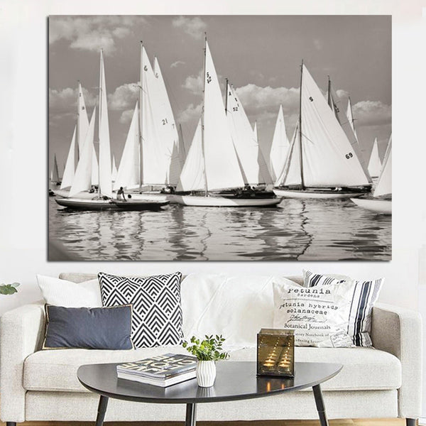 HD Print Abstract Black White Sailboat Seascape Oil Painting on Canvas Modern Landscape Poster Art Wall Picture for Living Room