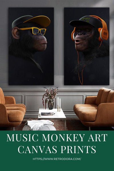 Funny Monkey Painting Canvas Wall Poster