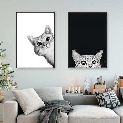 Canvas Prints Painting Nordic Style Lovely Black White Cats Posters Wall Art Animals Modular Pictures For Living Room Home Decor