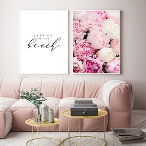 Nordic Letter Feather Flower Pink Canvas Posters Quote Wall Art Print Home Decor