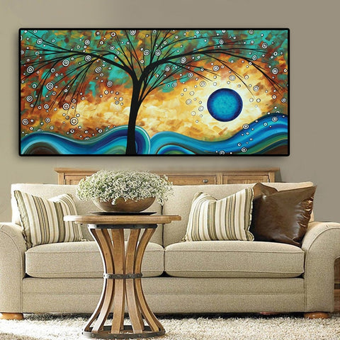 Abstract Tree Sunset Wave Oil Painting on Canvas Poster and Prints Scandinavian Wall Art Picture for Living Room  Cuadros Decor