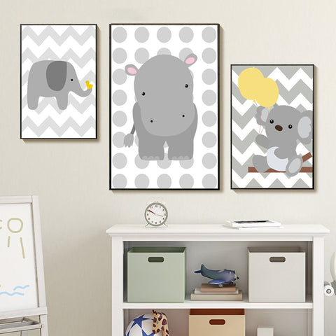 Cartoon Baby Bear Elephant Hippo Wall Art Canvas Painting Nordic Animal Posters and Prints Kids Room Decoration Picture