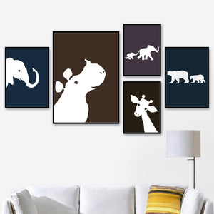Elephant Giraffe Bear Hippo Posters And Prints Wall Art Canvas Prints Pop Art Animal Poster Wall Pictures For Kids Room