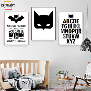 Nursery Wall Art Print Superhero Posters and Prints Batman Alphabet Canvas Painting Nordic Boy's Room Decor Gift for Baby Kids