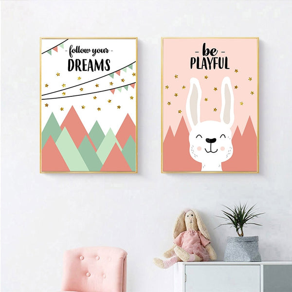 Children Poster Woodland Animal Wall Art Canvas Nursery Quotes Print Decorative Picture Painting Nordic Kid Bedroom Decoration