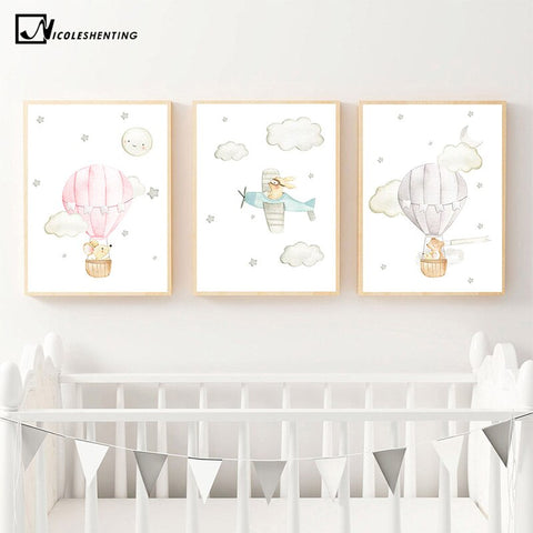 Animal Balloon Airplane Car Child Poster Nursery Canvas Print Wall Art Painting Nordic Kids Decoration Picture Baby Room Decor