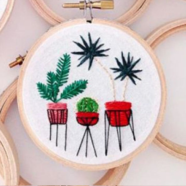 Cactus Embroidery Material Package Plant Series DIY Handcraft Beginner Embroidery