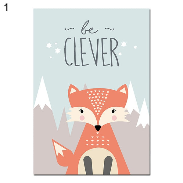 Lovely Cartoon Fox Owl Deer Nordic Canvas Painting Art Print Poster Picture Wall Baby Room Children Bedroom Home Decoration