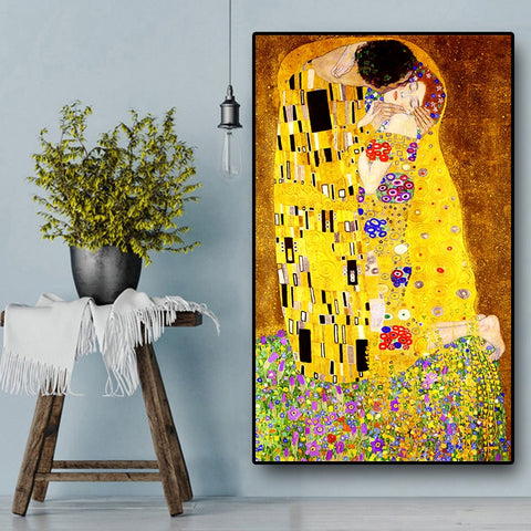 Classic Artist Gustav Klimt kiss Abstract Oil Painting on Canvas Print Poster Modern Art Wall Pictures For Living Room Cuadros