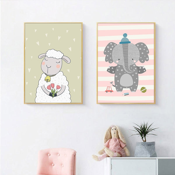Kawaii Wall Canvas Nursery Poster Print Cartoon Elephant Sheep Rabbit Painting Nordic Kids Decor Picture Baby Living Room Decor