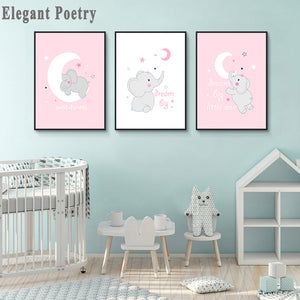 Baby Nursery Wall Canvas Painting Cute Pink Elephant Animal Poster Print Nordic Kids Decorative Picture Children Bedroom Decor