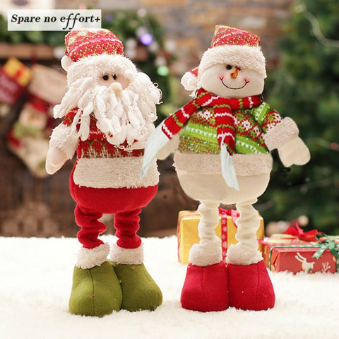 47cm Retractable Christmas Santa Claus/Snowman Dolls Standing Navidad Figurine Christmas tree Ornaments Kids Christmas Gifts Toy