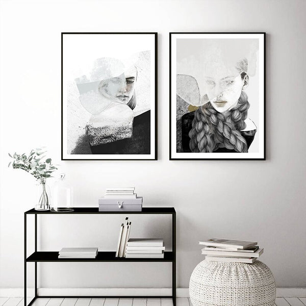 Woman Abstract Black White Landscape Art Canvas Painting Print Poster Picture Wall Living Room Bedroom Nordic Style Home Decor