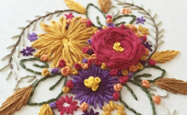 DIY Embroidery Kits Materials Package Flowers Patterns Needlework Set Cross Stitch