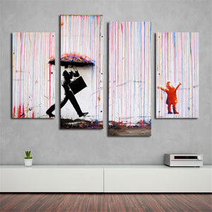 Banksy Art Colorful Rain wall canvas wall art painting living room wall decor no frame wall picture print