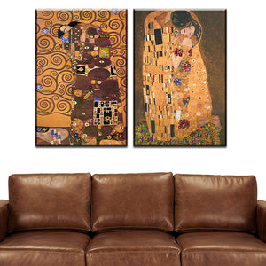 2 pcs Best Gustav Klimt kiss Home Decor Canvas Wall Art Picture Living Room Canvas Print Modern Painting Large Canvas Art Cheap