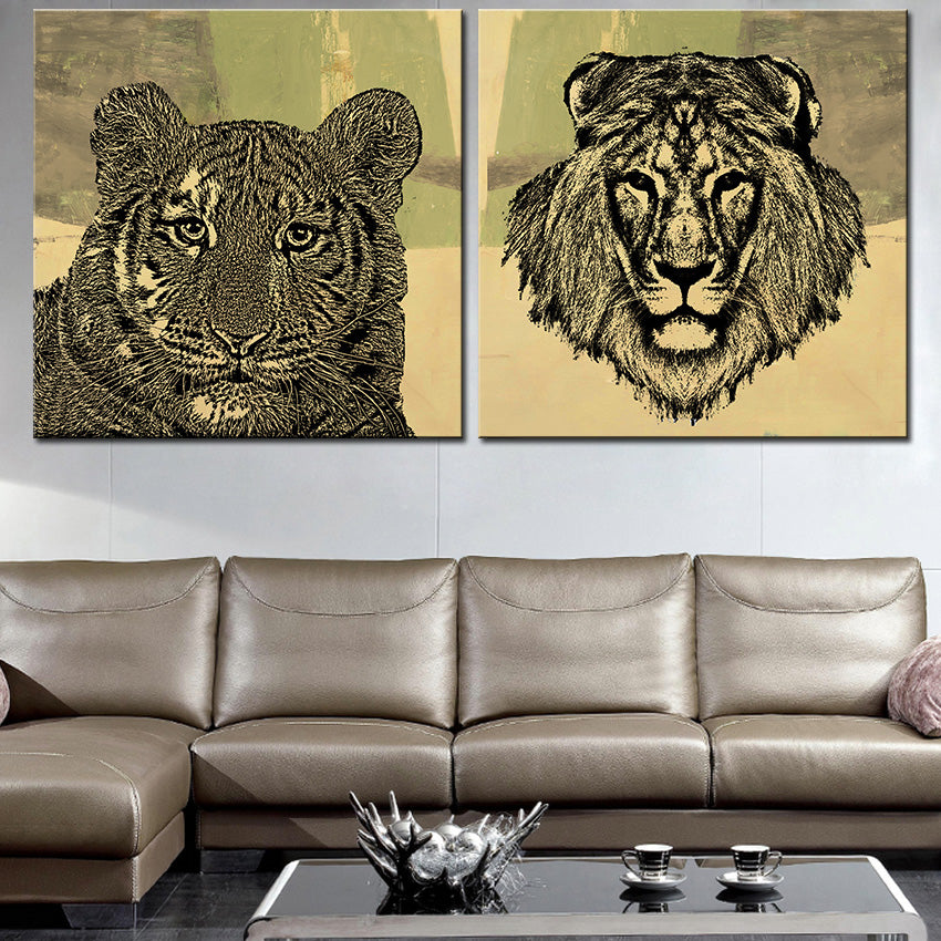 Large size 2pcs Print Oil Painting Wall painting tiger with lion Decorative Wall Art Picture For Living Room paintng No Frame