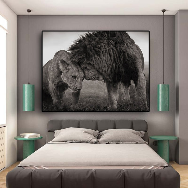 Lions Head to Head Wall Art Picture