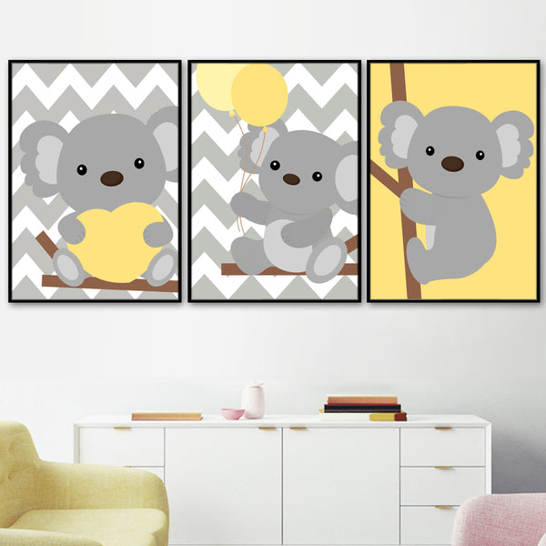 Cartoon Bear Heart Balloon Quote Wall Art Canvas Painting Nordic Posters And Prints Wall Pictures Girl Boy Baby Kids Room Decor