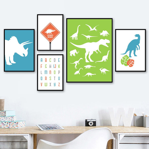 Dinosaur Egg letters Quote Nursery Wall Art Canvas Painting Nordic Posters And Prints Wall Pictures For Girl Boy Kids Room Decor