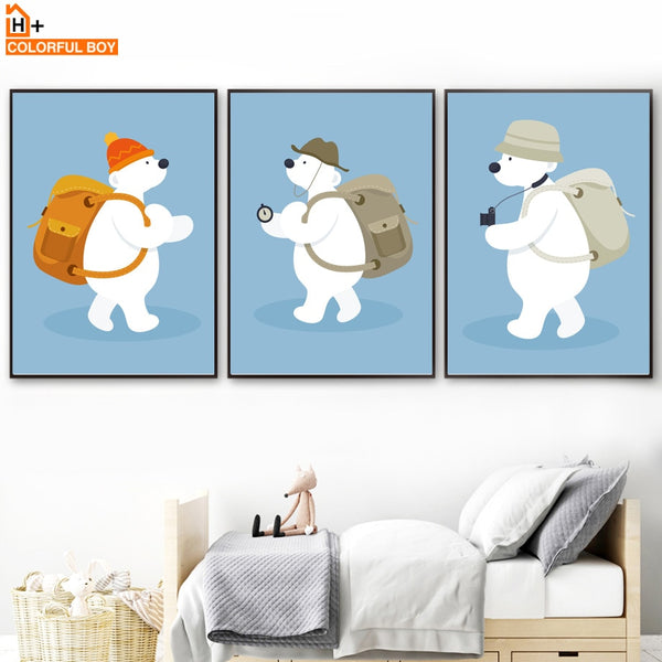 Polar Bear Adventure Quotes Wall Art Canvas Painting Nordic Posters And Prints Animal Wall Pictures Baby Kids Room Bedroom Decor