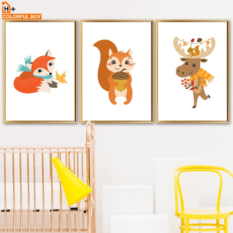 Cartoon Fox Squirrel Hippo Wall Art Canvas Painting Nordic Posters And Prints Animals Pop Art Wall Pictures Baby Kids Room Decor